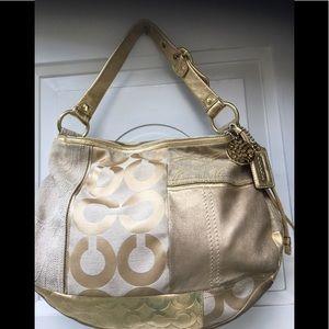 💕Coach gold patchwork large bag